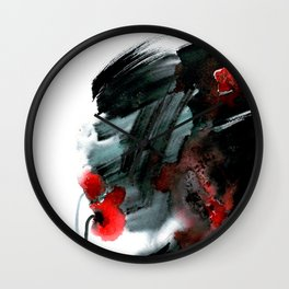 Original watercolor black and white painting with abstract red poppie flower. Handmade technique f Wall Clock