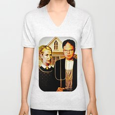 Dwight Schrute & Angela Martin (The Office: American Gothic) Unisex V-Neck