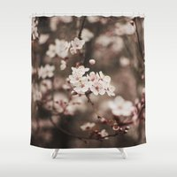 cherry blossom Shower Curtains featuring Cherry Blossom by Evan Dalen