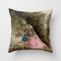 kansas Throw Pillows featuring Leaving Kansas by Jen Hallbrown