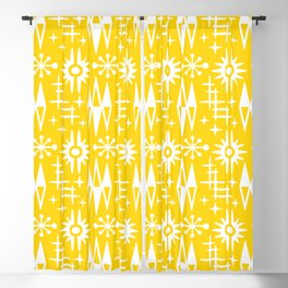 Mid Century Modern Atomic Space Age Pattern Yellow Blackout Curtain