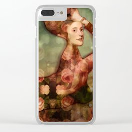 Mermaid among flowers Clear iPhone Case
