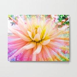 A summer Dahlia flower on vivid background Metal Print