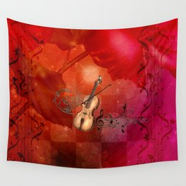 Music, violin with violin bow Wall Tapestry