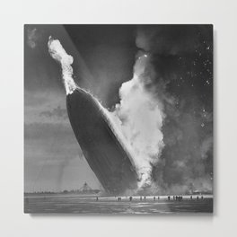 1937 New Jersey Crash of the Zeppelin LZ 129 Hindenburg black and white historical photograph Metal Print