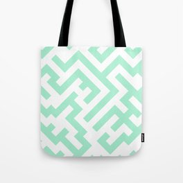White and Magic Mint Green Diagonal Labyrinth Tote Bag