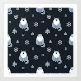 Winter Fox And Snowflakes Art Print