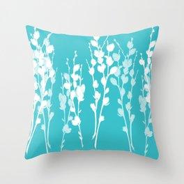 Pussywillow Sprig Silhouettes — Aqua + White Throw Pillow