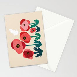 Poppy flowers and bird Stationery Cards