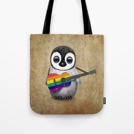 Baby Penguin Playing Gay Pride Rainbow Flag Guitar Tote Bag