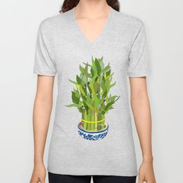 Lucky Bamboo in Porcelain Bowl Unisex V-Neck
