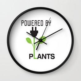 Powered by Plants Vegan Art Wall Clock