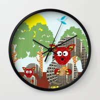 kangaroo Wall Clocks featuring Kangaroo by Design4u Studio