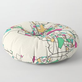 Colorful City Maps: El Paso, Texas Floor Pillow
