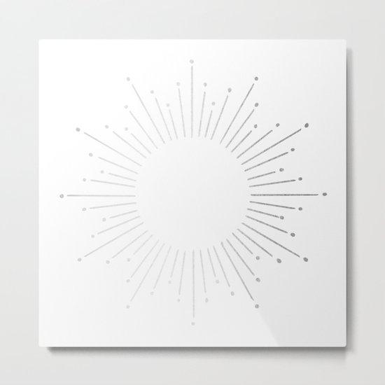 Sunburst Moonlight Silver on White Metal Print