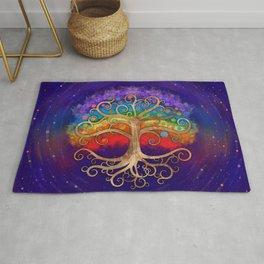Tree of life Golden Swirl and Rainbow Rug