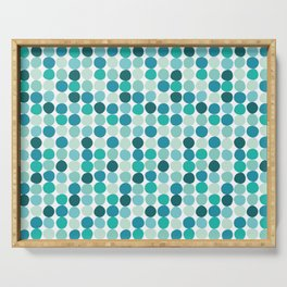 Midcentury Modern Dots Blue Serving Tray