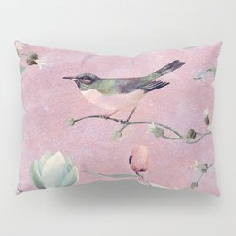 Bird on spring flowers Pillow Sham