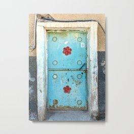 Tayma Blue Door Metal Print