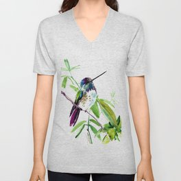 Hummingbird and Green Foliage, tropical green design Unisex V-Neck
