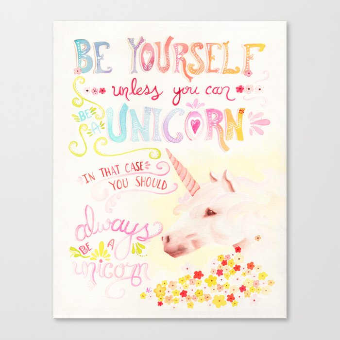 Unicorn Painting Be Yourself Quote Watercolor Wall Art Canvas Print By Surfpixie