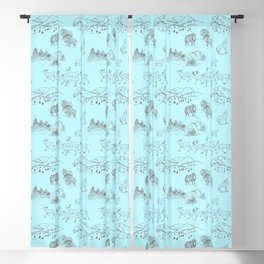 Arctic Wildlife Pattern (Light Blue and Brown) Blackout Curtain