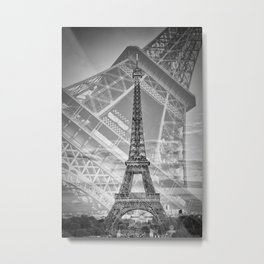 Eiffel Tower Double Exposure II | Monochrome Metal Print