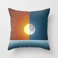 sun and moon Throw Pillows featuring Sun & Moon by Angelina Fenty