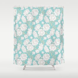 PEONIES TEAL BACKGROUND Shower Curtain
