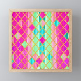 Moroccan Tile Pattern In Neon Pink And Green Framed Mini Art Print