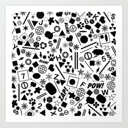 Bits And Pieces - Eclectic Black And White Random Pattern Art Print
