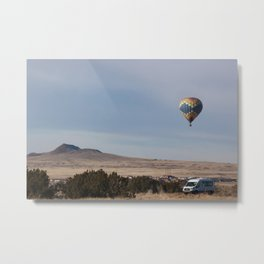 Hot Air Balloon over the Landscape Metal Print