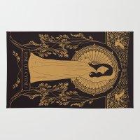 bjork Area & Throw Rugs featuring Reine des Cygnes (Gold) by Florent Bodart / Speakerine