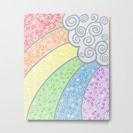 Dotty Rainbow and Swirly Cloud Metal Print