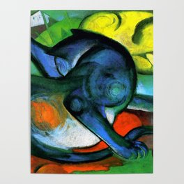 """Franz Marc """"Two Cats, Blue and Yellow' Poster"""