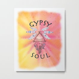 Gypsy Soul Dreamcatcher - Tribal Feathers Pink and Yellow Watercolor Metal Print