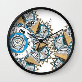 Gold & turquoise Mandala Wall Clock