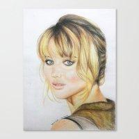 jennifer lawrence Canvas Prints featuring Jennifer Lawrence by Pritish Bali