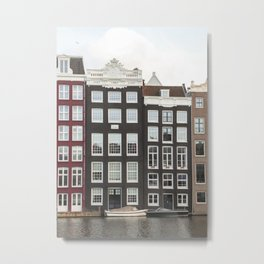 Amsterdam Canal Houses Photo   Historical Dutch City Architecture Print Holland Travel Photography Metal Print