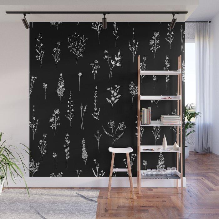 Black wildflowers Wall Mural