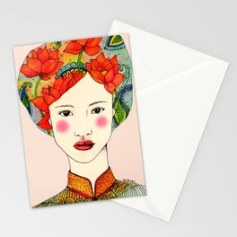 lotus girl Stationery Cards