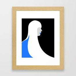 Joni Mitchell portrait (blue) Framed Art Print