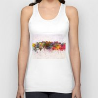 oakland Tank Tops featuring Oakland skyline in watercolor background by Paulrommer