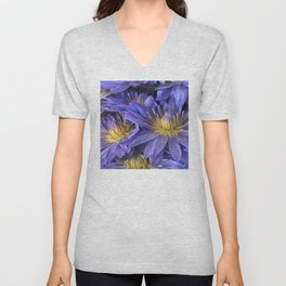 Luxurious, Elegant Tropical Lilac-Blue Hawaiian Lilies Unisex V-Neck