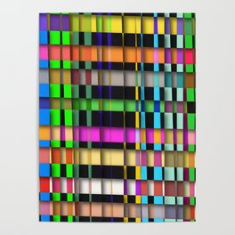 inclined coloured stripes with shadows Poster