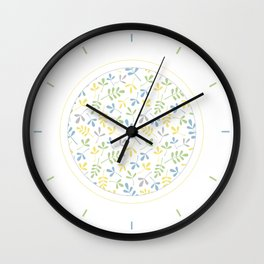 Assorted Leaf Silhouettes Blue Green Grey Yellow White Ptn Wall Clock