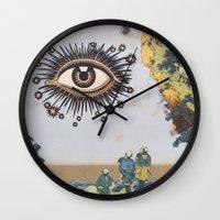 third eye Wall Clocks featuring Third Eye  by CUTS