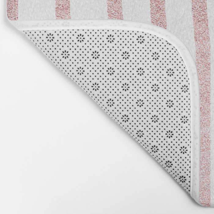 Simply Drawn Vertical Stripes in Rose Gold Sunset Bath Mat