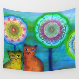 Cats and Trees Wall Tapestry