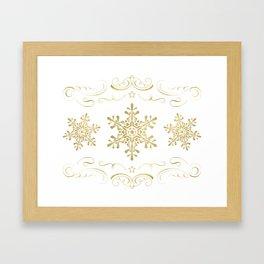 Ornate Golden Snowflakes Framed Art Print